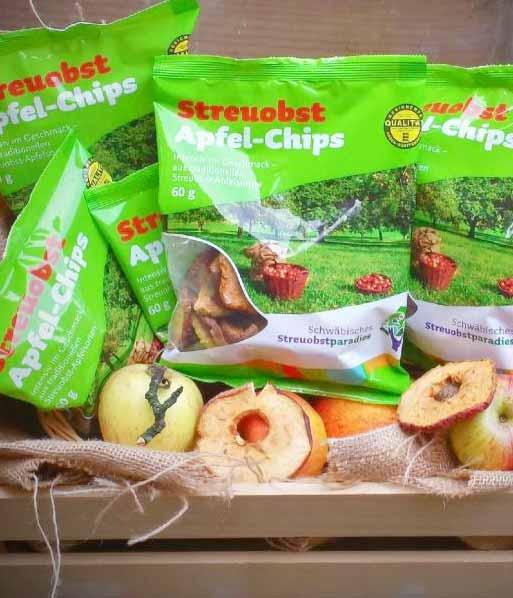 Das erste Eigenprodukt: Apfelchips aus dem Streuobstparadies