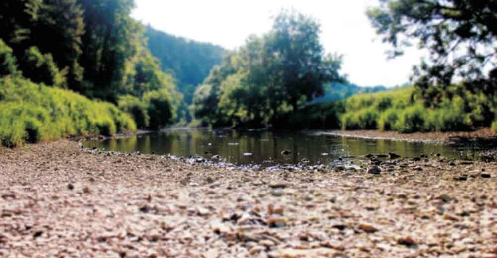 trockenes Flussbett der Donau