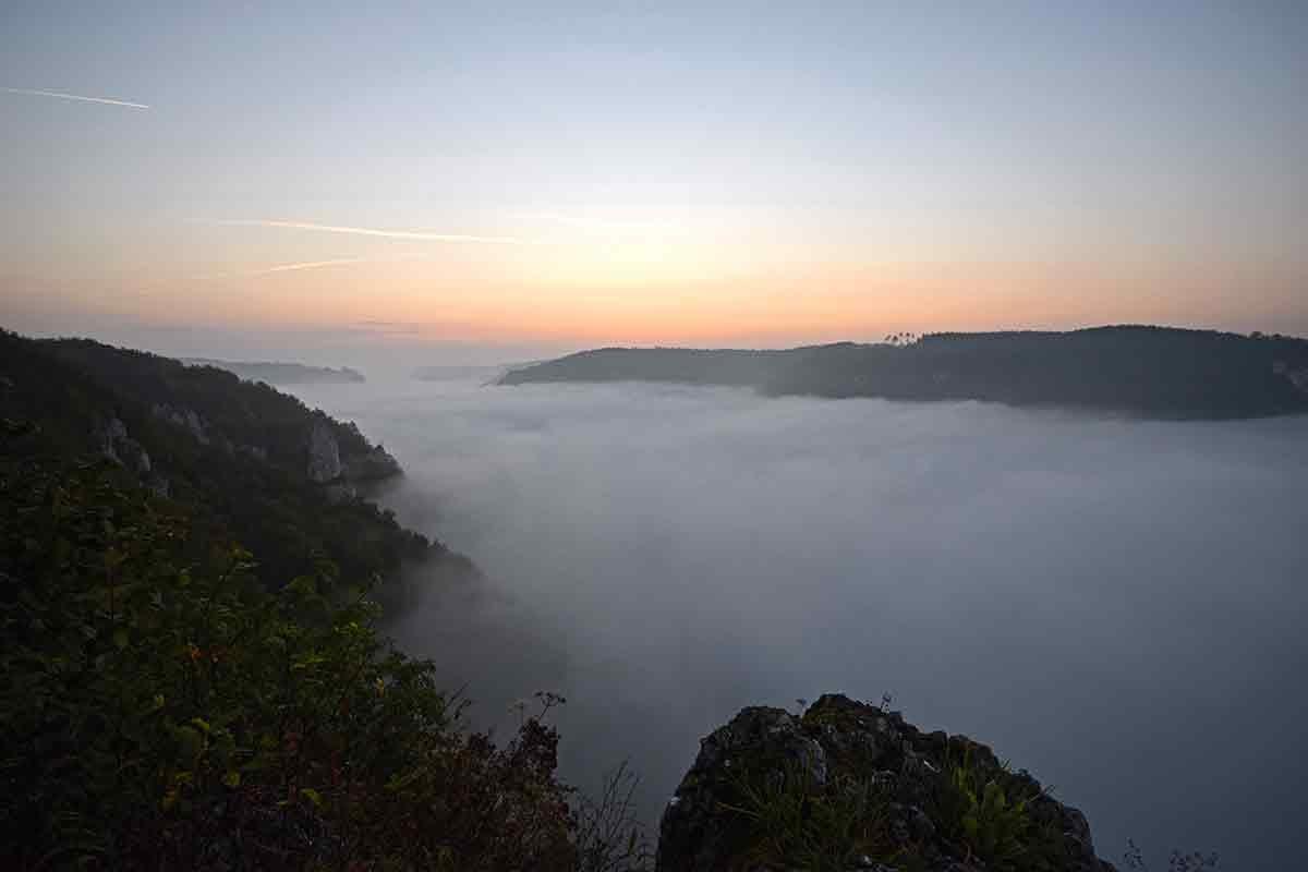 Blick vom EIchfelsen in der Morgendämmerung