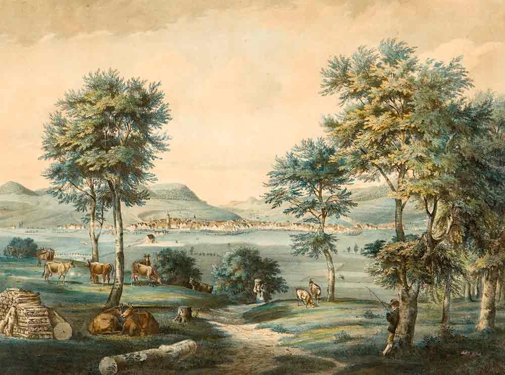 Caspar Obach: Stadt Ebingen von Süden 1844