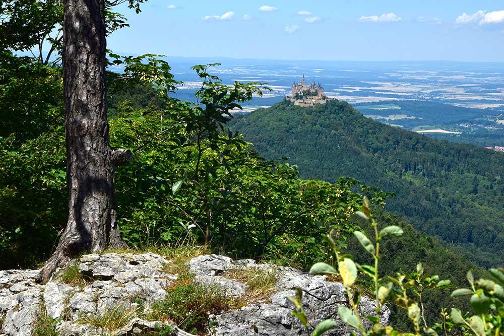 Blick auf Hügel mit Burg