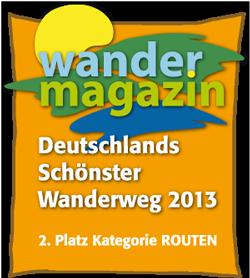 Logo Deutschlands schönster Wanderweg - Routen - 2. Platz