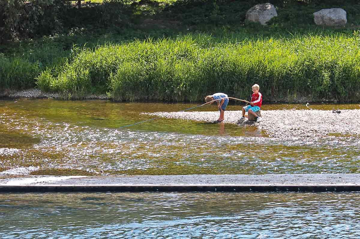 Riedlinger Kinder angeln und baden in der Donau
