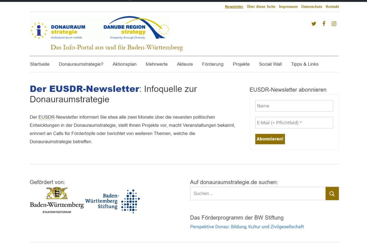 Screenshot donauraumstrategie-Newsletter